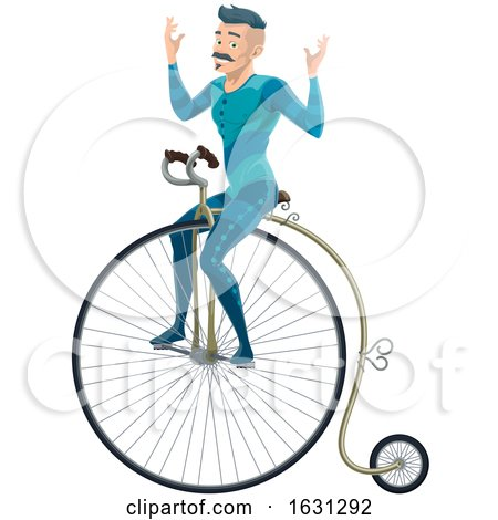 Circus Entertainer Riding a Penny Farthing Bicycle by Vector Tradition SM