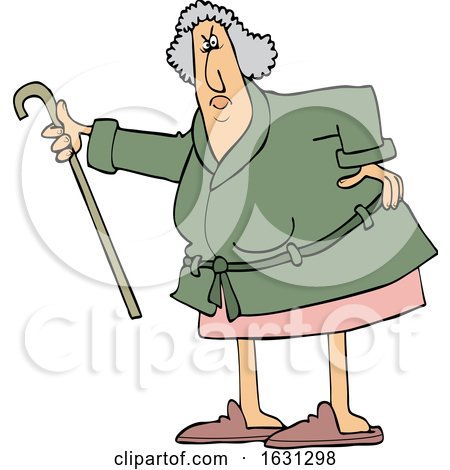 Cartoon Angry Senior Woman Shaking Her Cane by djart
