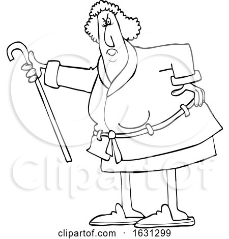 Cartoon Black and White Angry Senior Woman Shaking Her Cane by djart