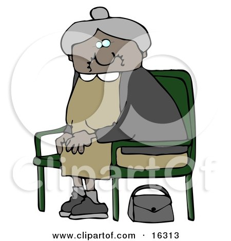 Gray Chairs on Old African American Lady With Gray Hair  Wearing A Green Dress And