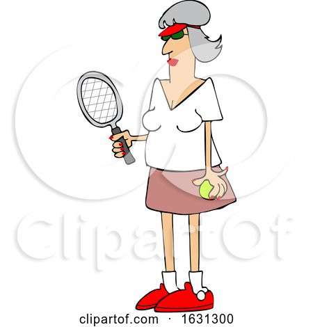 Cartoon Fit Senior Woman Playing Tennis by djart
