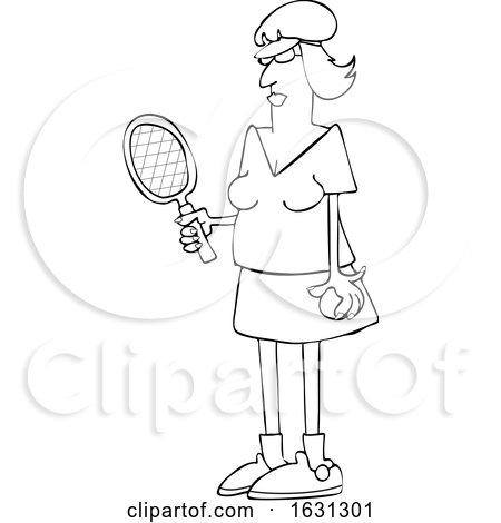 Cartoon Black and White Fit Senior Woman Playing Tennis by djart