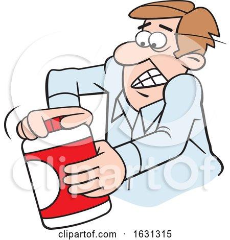 Cartoon White Man Opening a Tough Jar by Johnny Sajem