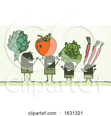 Black Stick Family with Veggies by NL shop