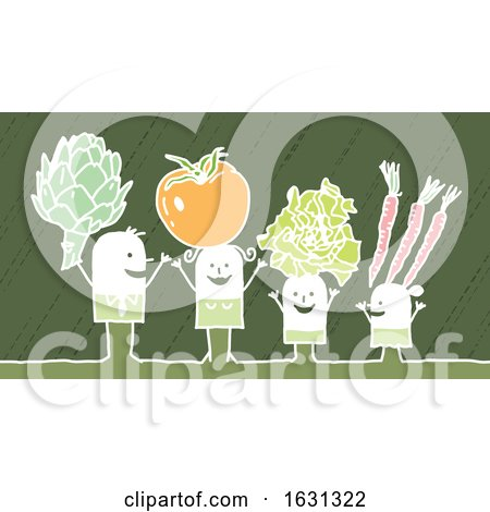 White Stick Family with Veggies by NL shop