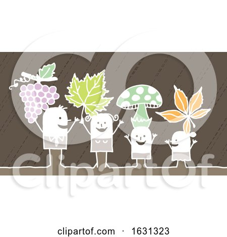 White Stick Family with Grapes Leaves and Mushrooms by NL shop