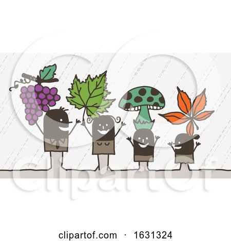 Black Stick Family with Grapes Leaves and Mushrooms by NL shop