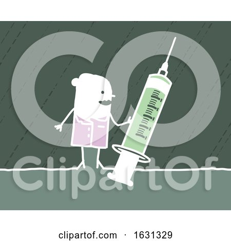 White Stick Female Nurse Holding a Syringe by NL shop