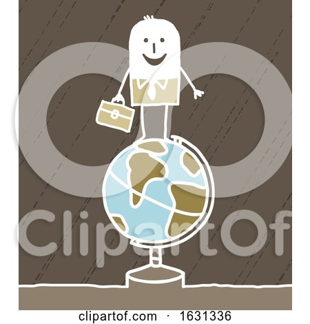 White Stick Business Man on a Globe by NL shop