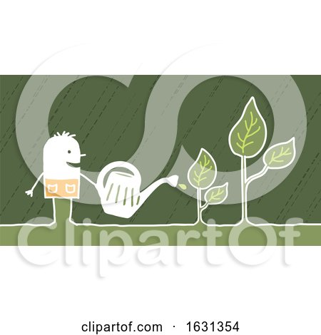 White Stick Man Watering Plants by NL shop