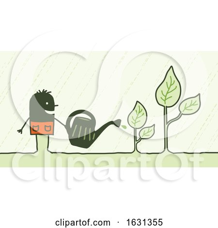 Black Stick Man Watering Plants by NL shop