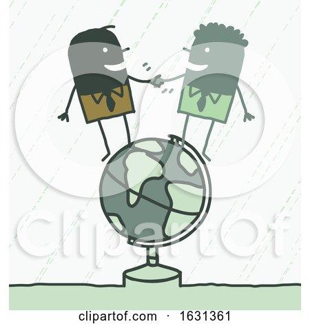 Black Stick Business Men Shaking Hands on a Globe Posters, Art Prints