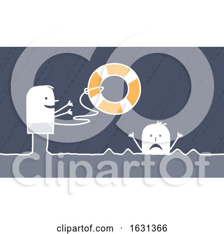 White Stick Man Tossing a Life Saver Buoy to a Drowning Person by NL shop