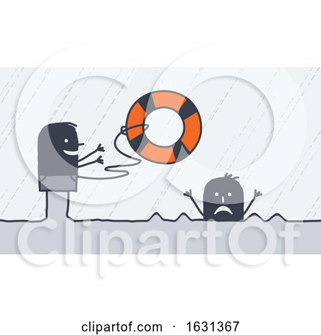 Black Stick Man Tossing a Life Saver Buoy to a Drowning Person by NL shop