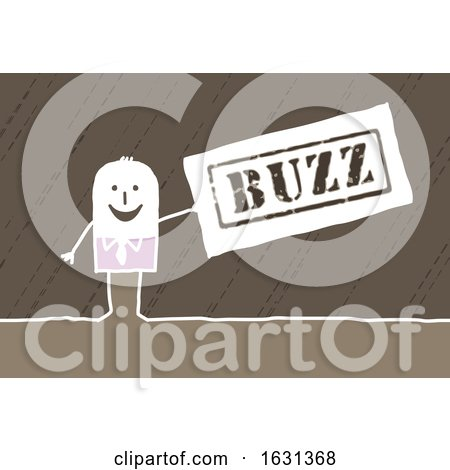 White Stick Business Man Holding a Buzz Sign by NL shop