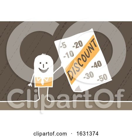 White Stick Business Man Holding a Discount Sign by NL shop