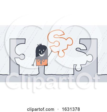 Black Stick Business Man Holding a Dollar Puzzle Piece by NL shop