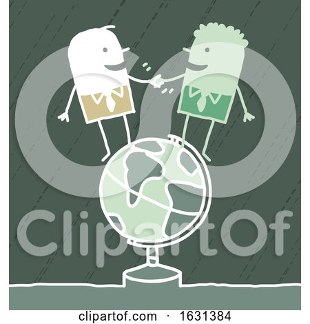 Stick Business Men Shaking Hands on a Globe Posters, Art Prints