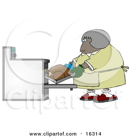 Clipart Illustration Image of a Middleaged African American Woman Wearing Mis-Matched Oven Mits And Putting A Turkey In The Oven While Cooking For Thanksgiving Or Christmas Dinner by djart