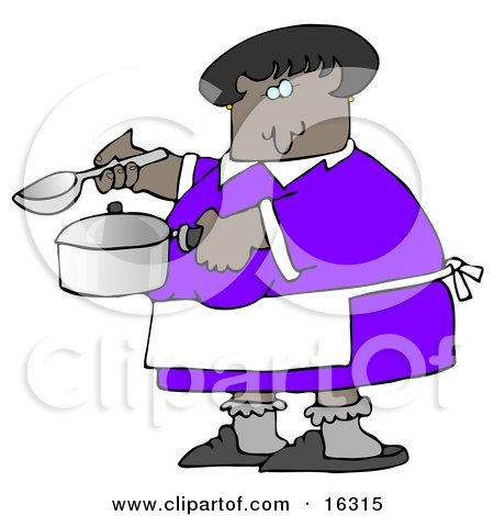 Clipart Illustration Image Of An African American Woman In A Purple Dress, White Apron, Gray Socks And Slippers, Holding A Spoon And Pot While Cooking Soup For Supper In A Kitchen by djart