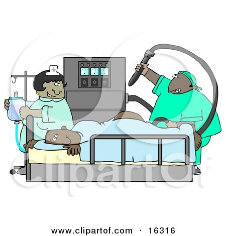 Clipart Illustration Image of a Nervous Male African American Patient Getting a Colonoscopy Exam by djart