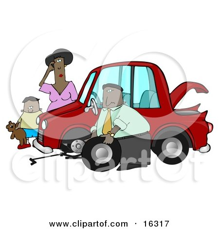 Little African American Boy Holding His Teddy Bear And Standing By A Worried Woman Sratcing Her Forehead And Watching As A Man, Her Husband Or Stranger, Changes The Flat Tire On Her Car Clipart Illustration Graphic by djart