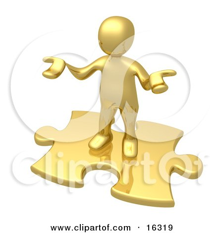 Confused Gold Person Holding Their Hands Out Because They Aren't Sure What To Do About Seo And Link Exchanges To Market Their Site Clipart Illustration Graphic by 3poD