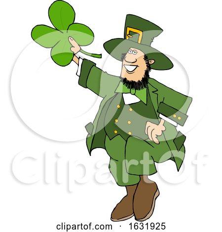 Cartoon St Patricks Day Leprechaun Holding up a Four Leaf Clover by djart