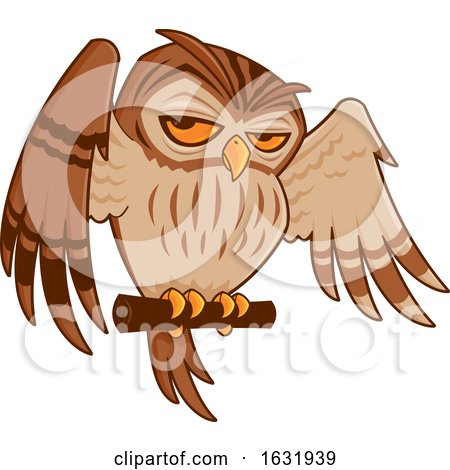Cartoon Perched Owl by John Schwegel