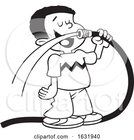 Cartoon Grayscale Black Boy Drinking Water from a Garden Hose by Johnny Sajem