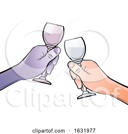 Hands Clinking Glasses Together by Lal Perera