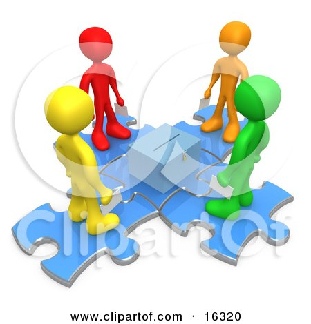 Group Of Diverse Diffferent Colored People Standing On Blue Puzzle Pieces And Holding Their Voting Ballots In Envelopes While Looking Down At A Ballot Box Clipart Illustration Graphic by 3poD