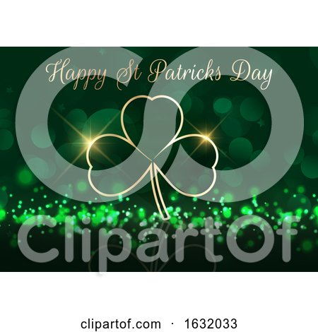 St Patricks Day Background with Shamrock on Bokeh Lights by KJ Pargeter