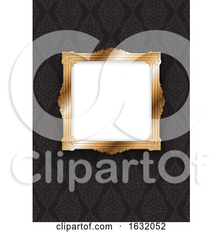 Elegant Gold Frame on Decorative Wallpaper by KJ Pargeter