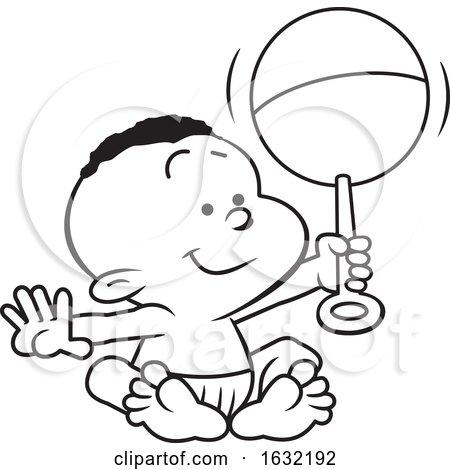Lineart Black Baby Boy Holding a Rattle by Johnny Sajem