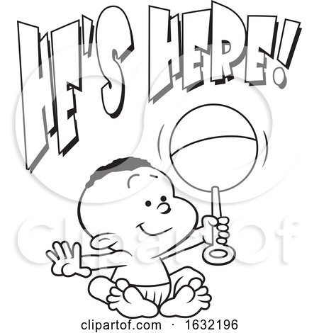 Lineart Black Baby Boy Holding a Rattle Under Hes Here Text by Johnny Sajem