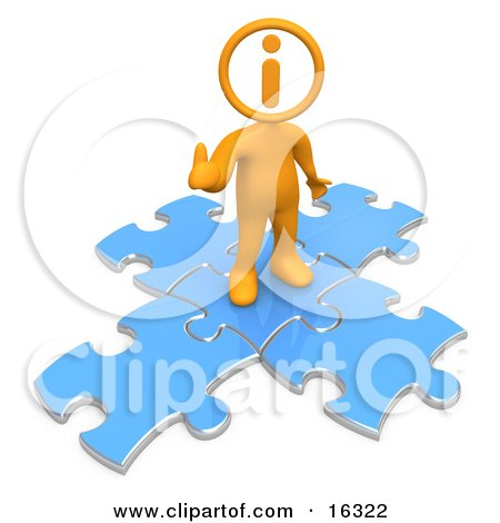 Orange Person With An I Inside His Circle Head, Standing On Top Of Blue Puzzle Pieces, Symbolizing Information And Technical Support  Posters, Art Prints