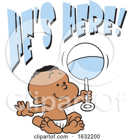 Black Baby Boy Holding a Rattle Under Hes Here Text by Johnny Sajem