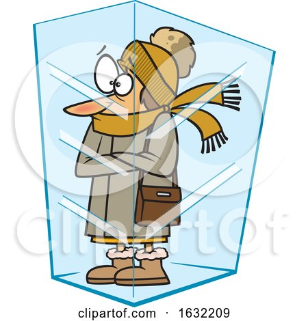 Cartoon White Woman Deep Frozen in Ice by toonaday