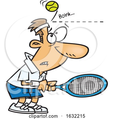 Cartoon White Male Tennis Player Being Bonked in the Head with a Ball by toonaday