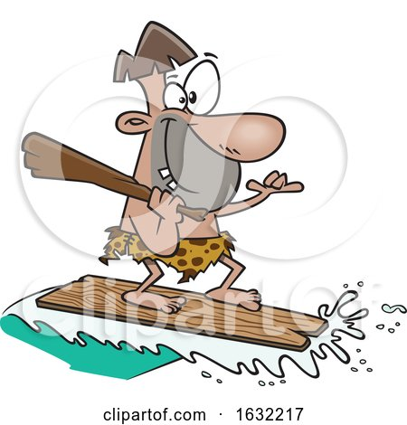 Cartoon Caveman Surfing on a Board by toonaday