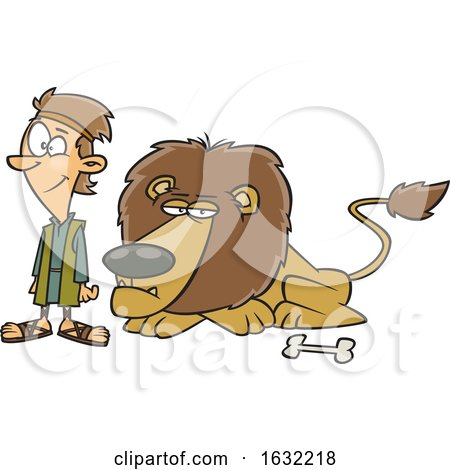 Cartoon Resting Lion and Daniel by toonaday