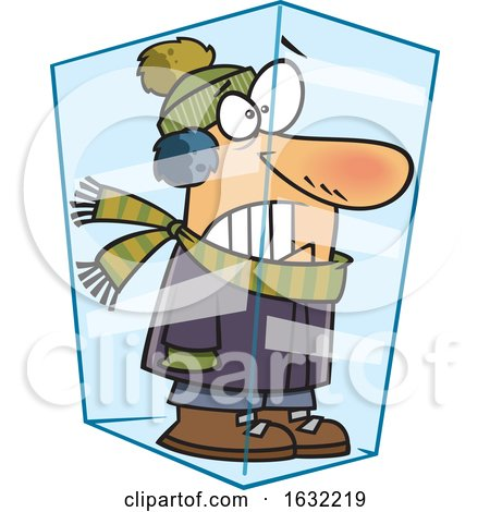 Cartoon White Man Deep Frozen in Ice by toonaday