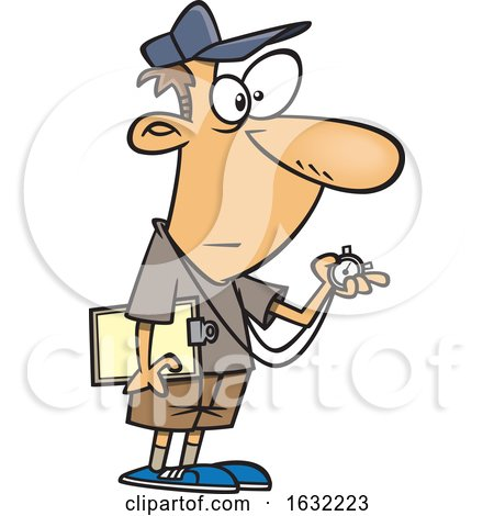 Cartoon White Male Track Coach Holding a Stopwatch by toonaday