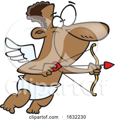 Cartoon Black Cupid Aiming an Arrow by toonaday
