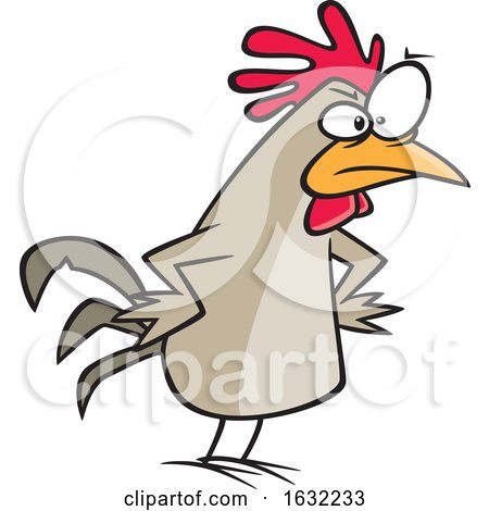 Cartoon Peeved Chicken with Hands on Hips by toonaday