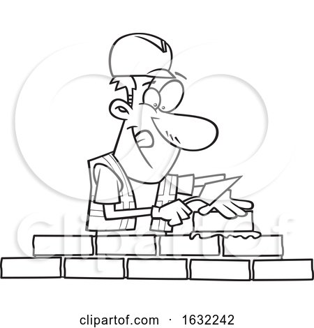 Cartoon Outline Male Mason Contractor Laying Bricks by toonaday