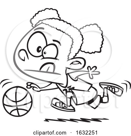 Cartoon Outline Black Girl Dribbling a Basketball by toonaday