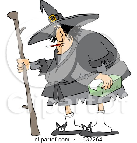 Sick Chubby Witch with a Thermometer in Her Mouth and Tissues in Hand by djart
