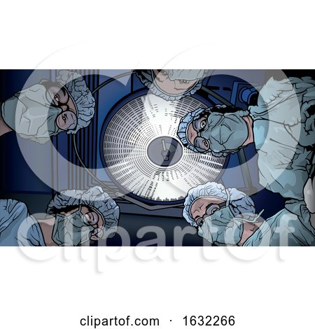 Patients View of Surgeons and an Operating Room Light by dero